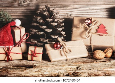 Christmas gifts, Christmas decorations on wood