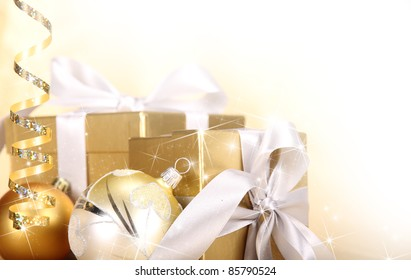 Christmas gifts in golden theme