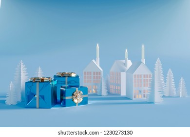 Christmas gifts on the background of homemade paper crafts and blue background