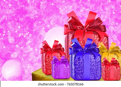 Christmas gifts on table, Christmas tree background