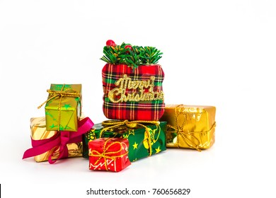 Christmas gifts on a white background
