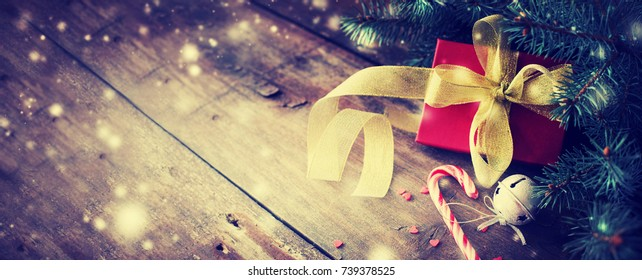 Christmas Gifts on wooden background - Shutterstock ID 739378525