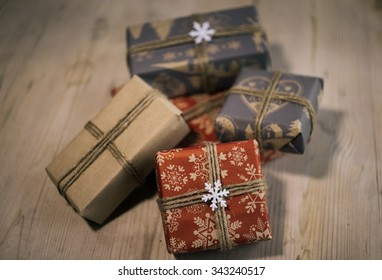Christmas gifts on wooden table stock photo edit now 343240526