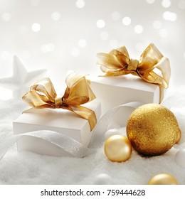 christmas gifts, christmas ornaments and snow