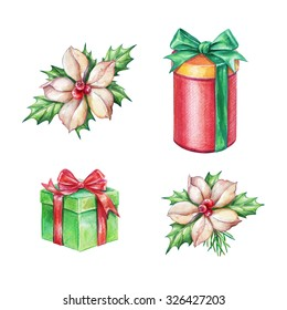 Christmas gifts and poinsettia flowers design elements, watercolor illustration isolated on white background