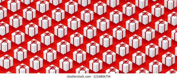 christmas gifts or presents boxes background banner