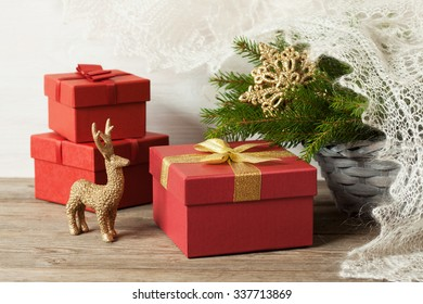 Christmas gifts , red boxes