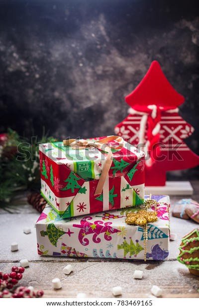 Christmas gifts still-life new year red fir tree wood presents