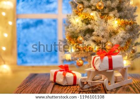 Christmas Gifts Tree Lights Frozen Window Stock Photo (Edit Now ...