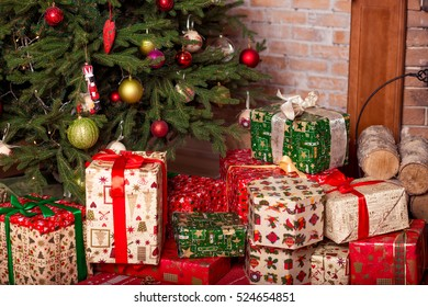 Christmas Presents Under Tree.Gifts Under The Tree Images Stock Photos Vectors
