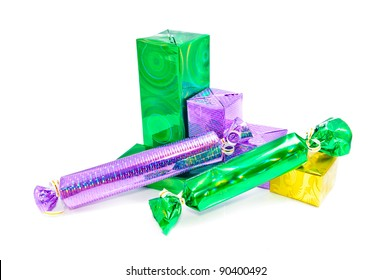 Christmas gifts for the whole family. Multi-colored boxes that are packed gifts