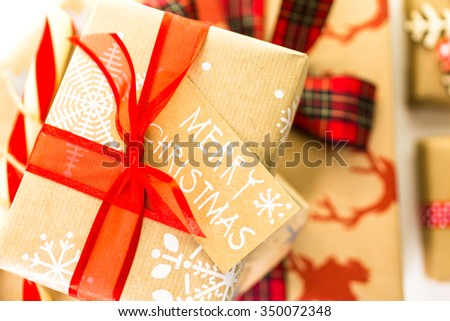 Christmas Gifts Wrapped Brown Paper Red Stock Photo (Edit Now ...