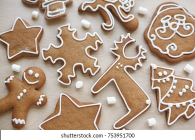 Christmas Ginger and Honey cookies on wooden background