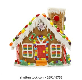 Christmas Gingerbread Cookie House with Candy Isolated on White Background.