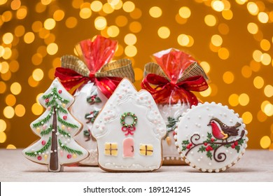 Christmas gingerbread cookie. New Year's cookies with ginger on a beautiful background.