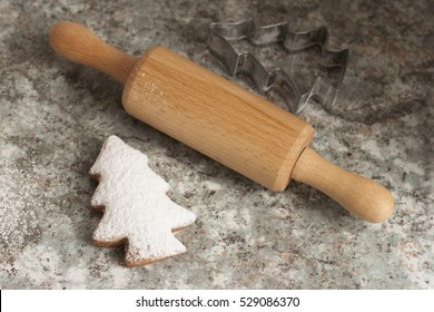 christmas gingerbread cookies baking process , dough and rolling pin. Winter holiday cookies