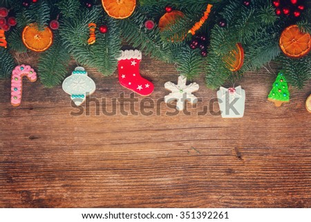 15027244cbf37 Christmas Gingerbread Cookies Fir Tree Border Stock Photo (Edit Now ...