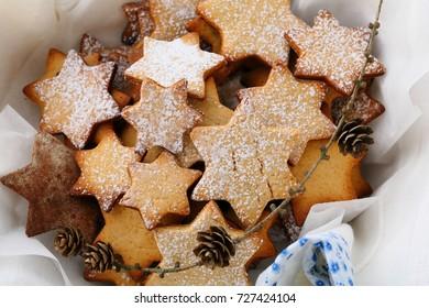 Christmas Gingerbread cookies, food closeup