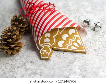 Christmas gingerbread cookies on a light background