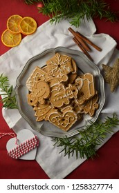 Christmas gingerbread cookies on plate