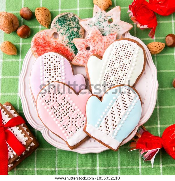 Christmas gingerbread cookies on plate.