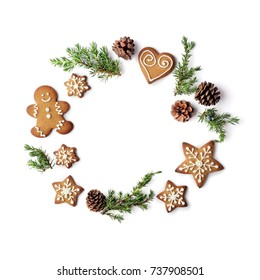 christmas gingerbread cookies wreath on white background