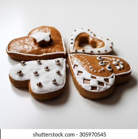 Christmas gingerbread heart-shaped