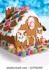 Christmas gingerbread house with candy