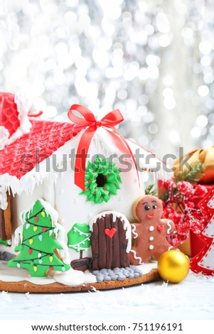 Christmas Gingerbread House Background.Christmas Gingerbread House On Lights Background Stock Photo