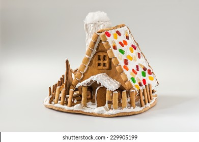 Christmas gingerbread house roof dotted with colorful candy