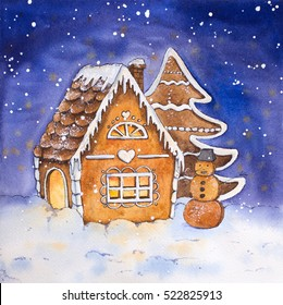 Christmas Gingerbread House - Watercolor Illustration