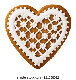 Christmas gingerbread isolated on white background, heart shape