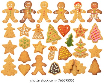 Christmas Gingerbread Isolated on White Background. Contains cookies: man, stars, tree, bell, mushroom, flower