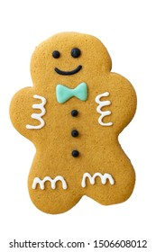 Christmas gingerbread man cookie isolated on white background.