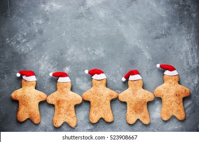 Christmas gingerbread man cookies - Christmas and New Year holiday background