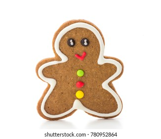 christmas gingerbread man sugar cookie isolated on white background