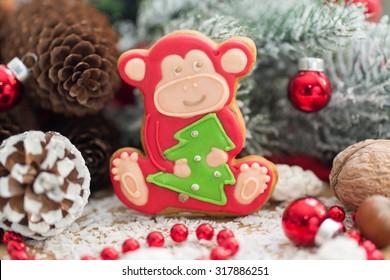 Christmas gingerbread monkey