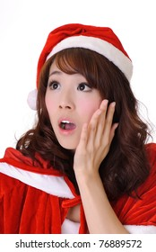 Christmas girl, half length closeup portrait on white background.