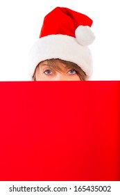 Christmas girl with red placard on white background