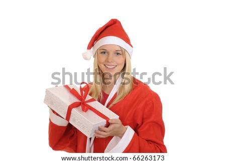 christmas girl shows christmas gift