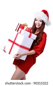 Christmas Girl Smile Holding Gift Box, Model is a cute Asian beauty,  isolated on white background