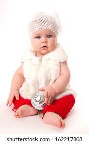 Christmas girl is waiting