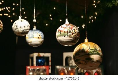 Christmas glass balls at the Lueneburg Christmas market (near Hamburg)