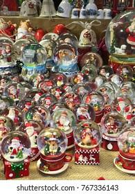 Christmas globes in fair kiosk