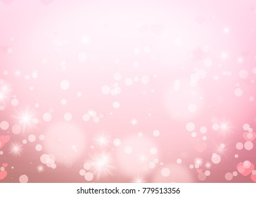 Christmas glowing Pink Golden Background. Bokeh lights. Happy Holiday New year Abstract Glitter Defocused With Blinking Stars and sparks. Blurred Circle.