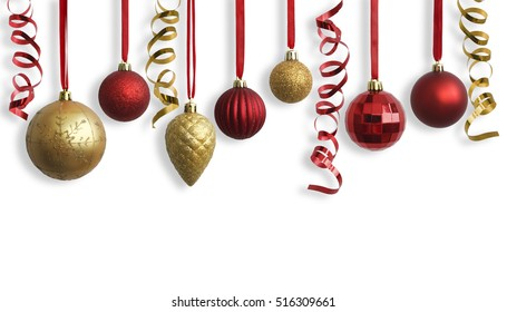 Christmas gold and red balls. Christmas decorations.