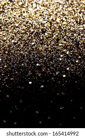 Christmas Gold and Silver Glitter background. Holiday abstract texture