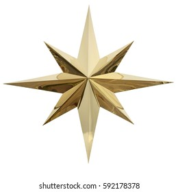 Christmas gold star isolated on white background. This has clipping path.
