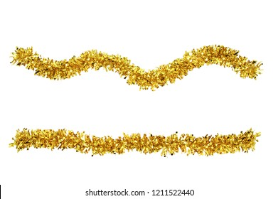 Christmas gold tinsel for decoration. White isolate