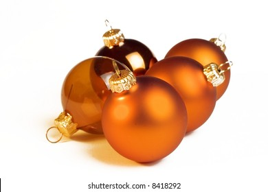 christmas golden balls on white background